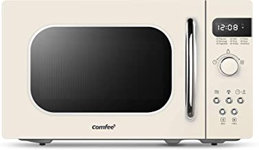 COMFEE' Retro Countertop Microwave Oven with Compact Size, Position-Memory Turntable, Sound On/Off Button, Child Safety Lo...