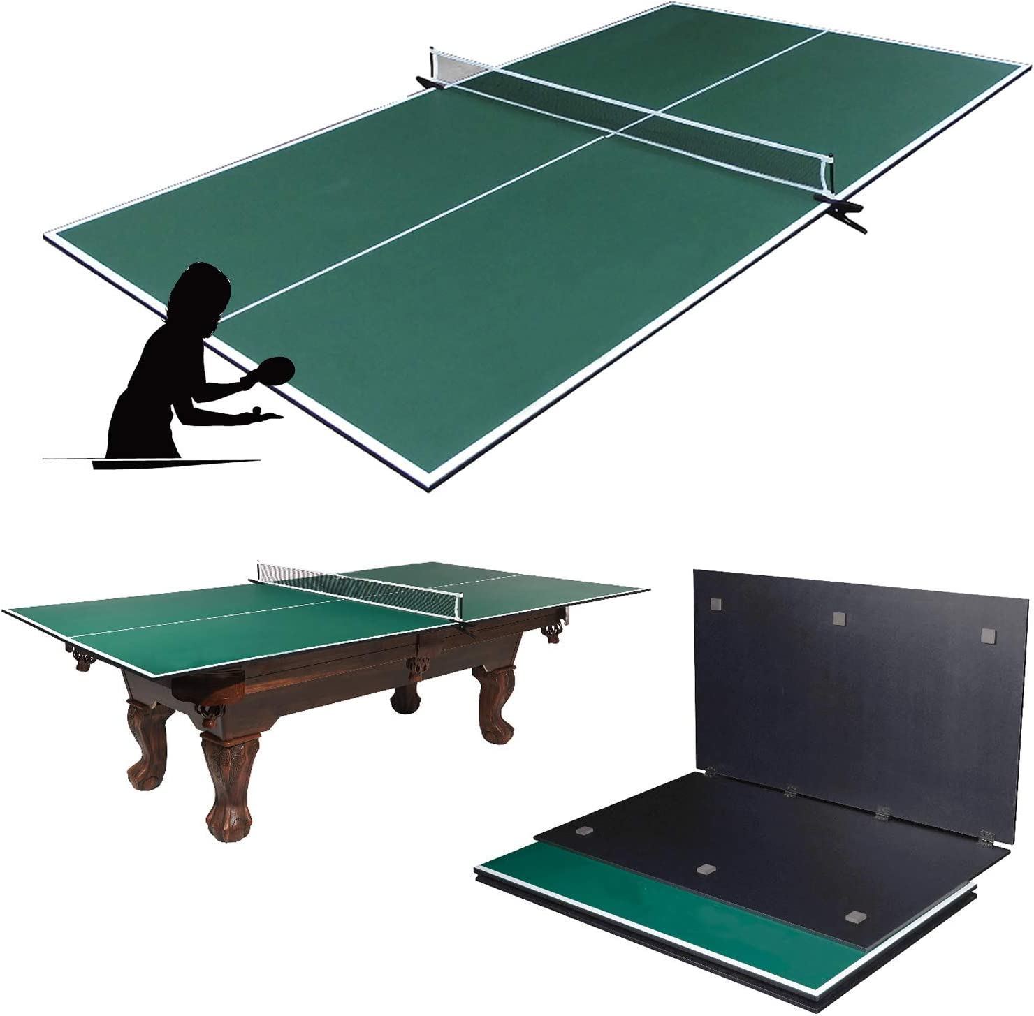 Picotech Ping Pong Table Topper for Pool Table Indoor Table Tennis Conversion Top 4 Piece Foldable with Clamp Net Post Official Size for Game Room Billiard Table Air Hockey Space Save Home Office