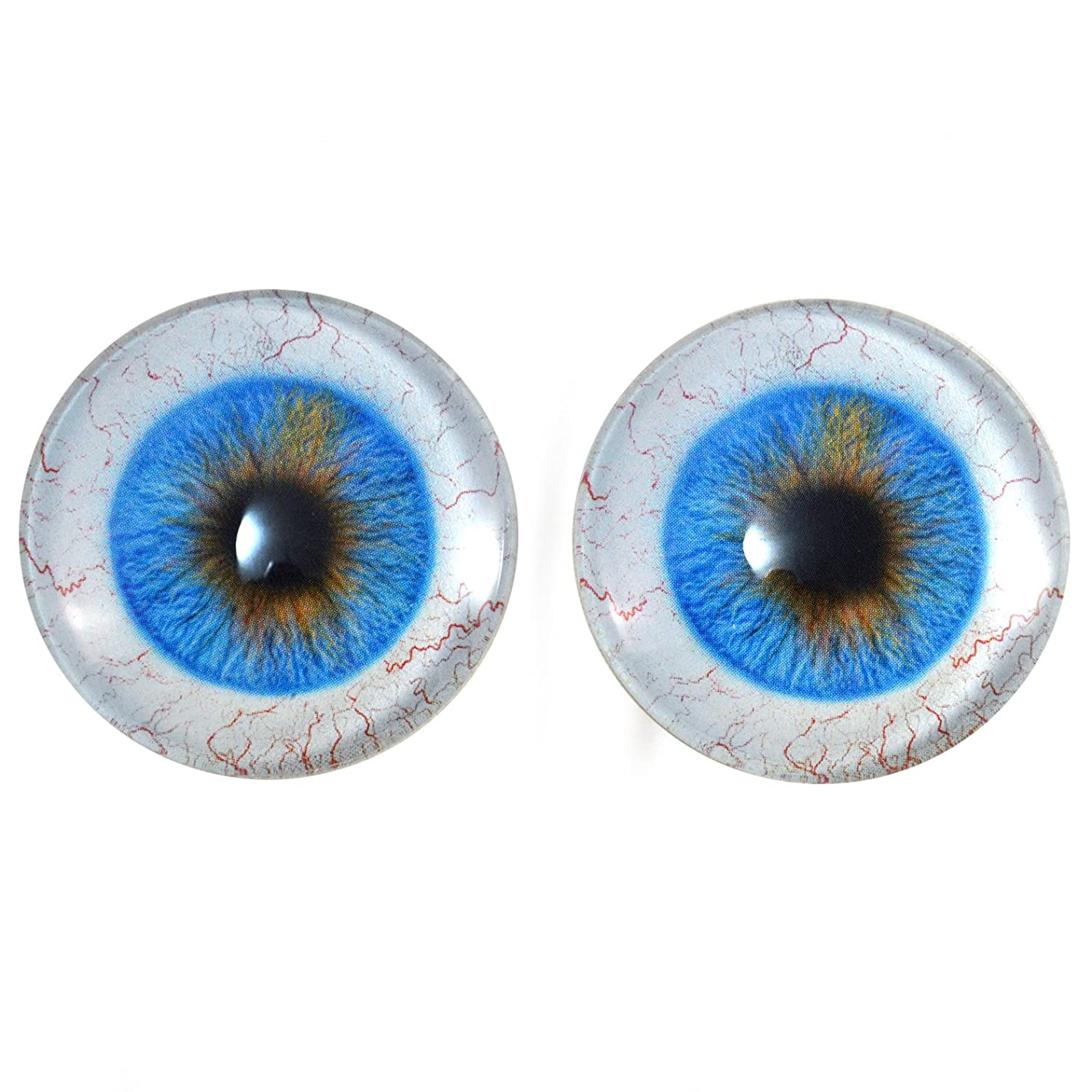 50mm Huge Blue Human Glass Eyes Pair with Sclera Whites - for Art Dolls, Sculptures, Props, Halloween, Jewelry Making, Taxidermy, and More