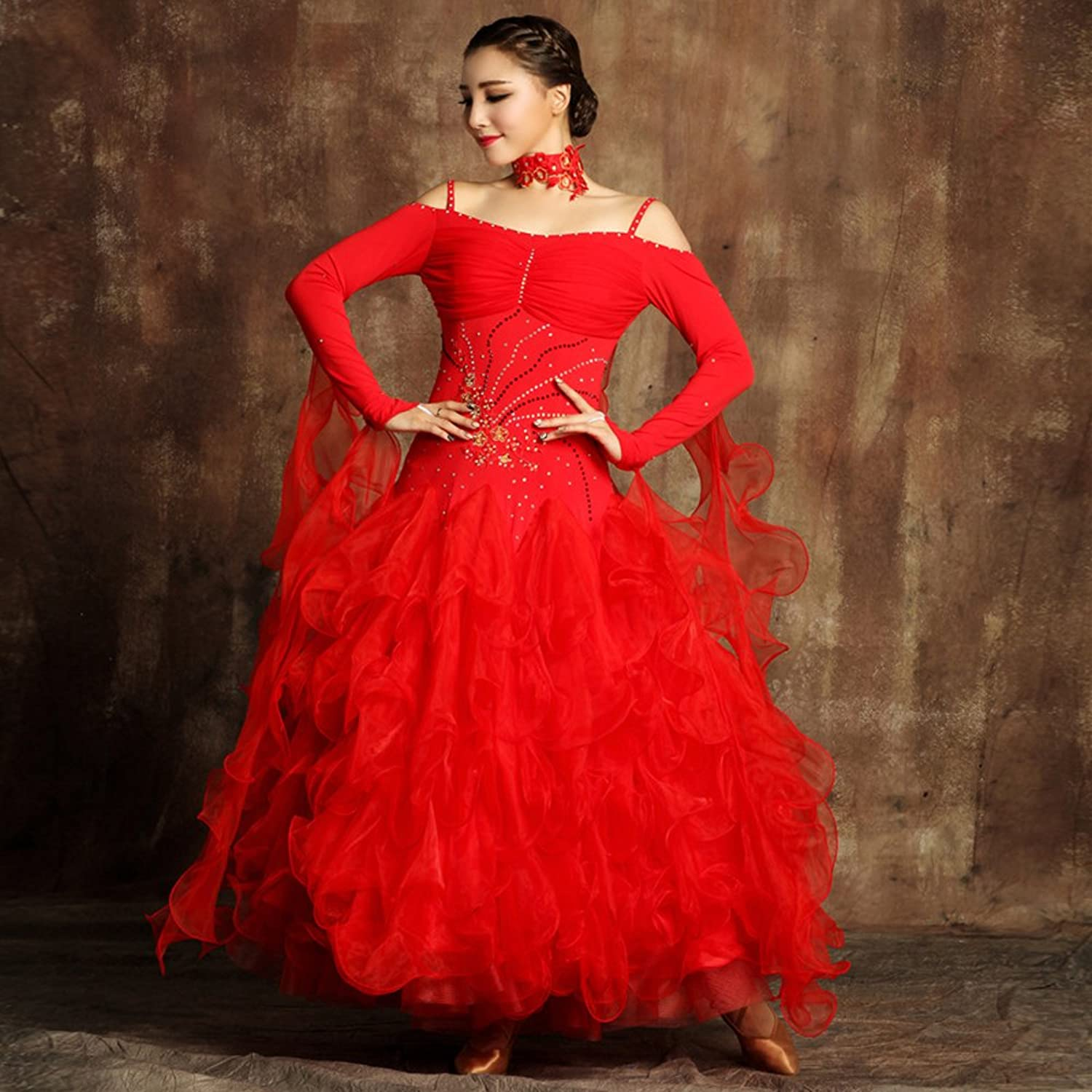 Modern Lady Big Pendulum Modern Dance Dress with Strap Tango and Waltz Dancing Dress Dance Competition Skirt Long Sleeves Rhinestones Dancing Costume
