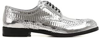 DOLCE E GABBANA Luxury Fashion Womens CN0012AE70480998 Silver Lace-Up Shoes   Season Outlet