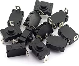 RuiLing 10pcs Self-Lock Push Button Switch KAN-28 for Flashlight SMD Type ON-Off Mini Switch (Bent Pin with Hole)