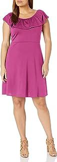 Star Vixen womens Plus-size Str Ponte Fitnflare Peasant Ruffle Dress Dress