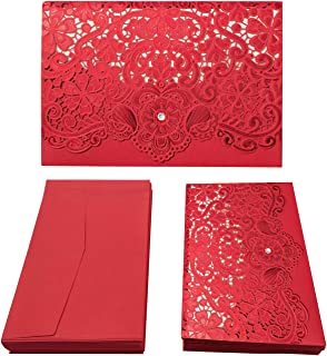 Gold Fortune 50PCS Red Laser Cut Wedding Invitation Cards Kit with Hollow Flora Favors YC041