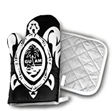 Guam Seal in A Tribal Turtle Kitchen Gloves for Cooking Baking BBQ Grilling - Heat Resistant Oven Mitts Best Protection Ever