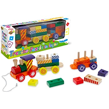Kofun tren cami/ón de madera para ni/ños juguetes de desarrollo geom/étrico bloques educativo juguete