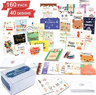 Birthday Cards, 160 Pack 40 Designs Happy Birthday Card Assorted Bulk with 160 Blank Envelopes 168 Pieces of Stickers 6 Washi Tapes, Feela 4 X 6 Inches Greeting Cards For Girls Family Friends photo