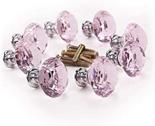 AJSN 8 x Meubles de Porte décoration Bling Diamant Rose tiroir poignée Bouton 30x27mm (Color : Pink)