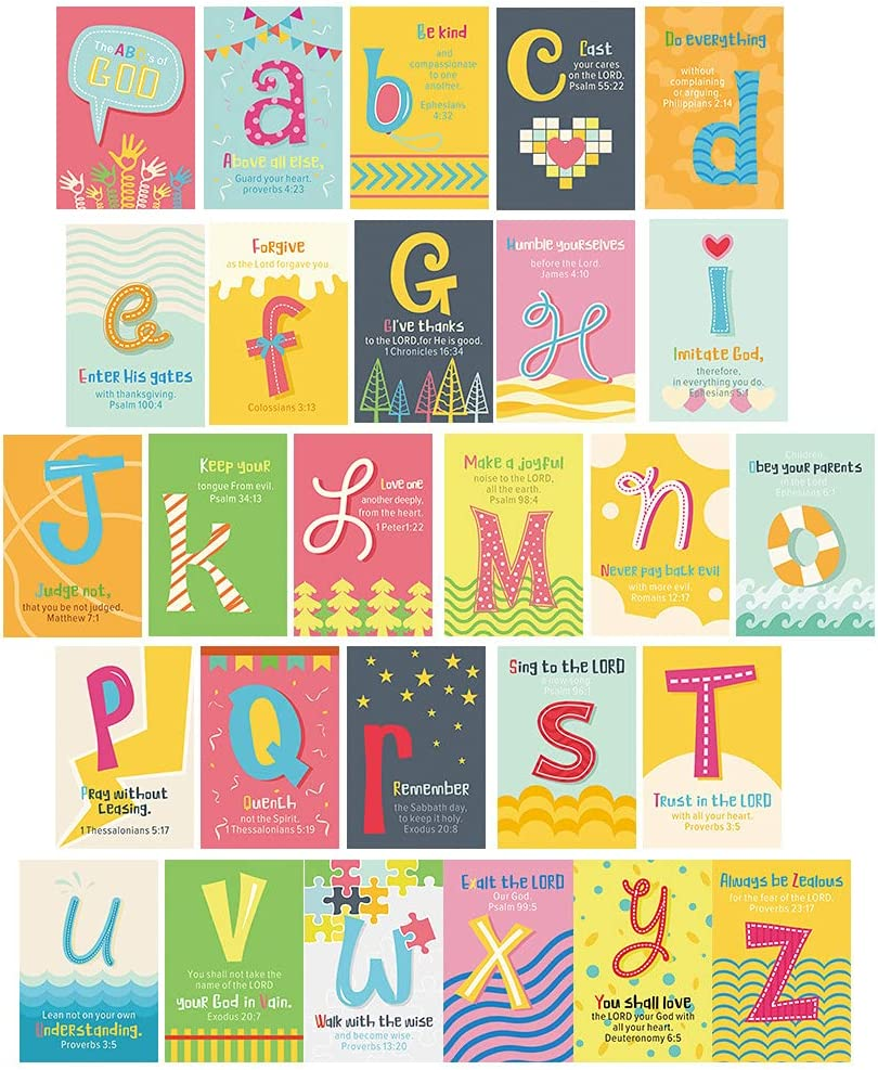 ABC's of God Scripture Wall Collage Kit, Bible Verse Wall Art,Set of 27 (4 X 6 Inch)Alphabet Scripture Cards,Inspirational Poster, Christian Kids Wall Kit For Nursery Classroom Playroom Wall Decor
