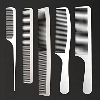 CCbeauty 5-Packs Metal Barber Comb Set Pack for Men & Women,Professional Hairdressing Salon Combs Hair cutting Tool Detangler Comb with Leather Bag