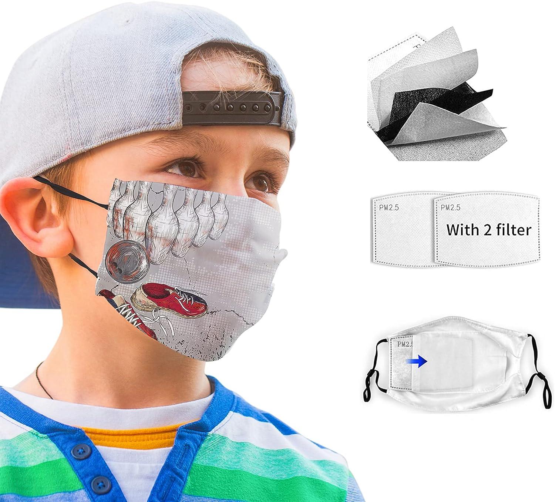 Cloth Face Mask Bandana With 2pcs Filters,Balaclava Adjustable Earloop Washable Reusable for Kids