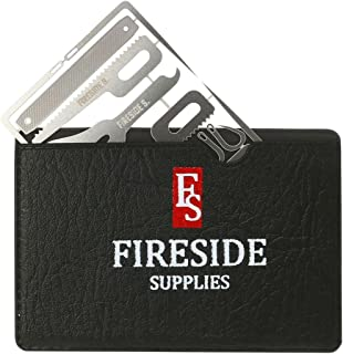Fireside Supplies Medical Survival Card with Bonus Black Leather Case – 19-in-1 Stainless Steel Survival Multitools – Survival Credit Card for Hiking and Camping