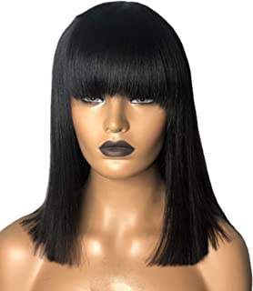 Short Bob Wig Brazilian Lace Frontal Human Hair Wigs Pre Plucked Natural Color Bleached Knots Human Hair Wig With Bangs 1B,Natural Color,8Inches,150%