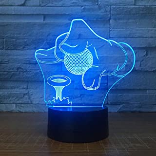 Golf Tournament 3D 7 Color Lamp Visual Led Night Lights for Kids Touch USB Table Baby Sleeping Nightlight