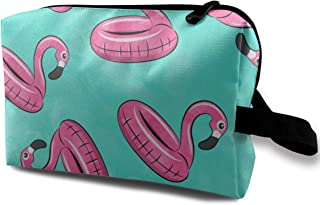 Flamingo Float Toss On Blue Travel Makeup Cute Cosmetic Case Organizer Portable Storage Bag for Women