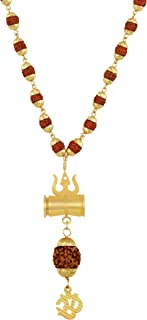 Charms Gold Plated Long Mala Necklace for Men (Golden) (CP-05)