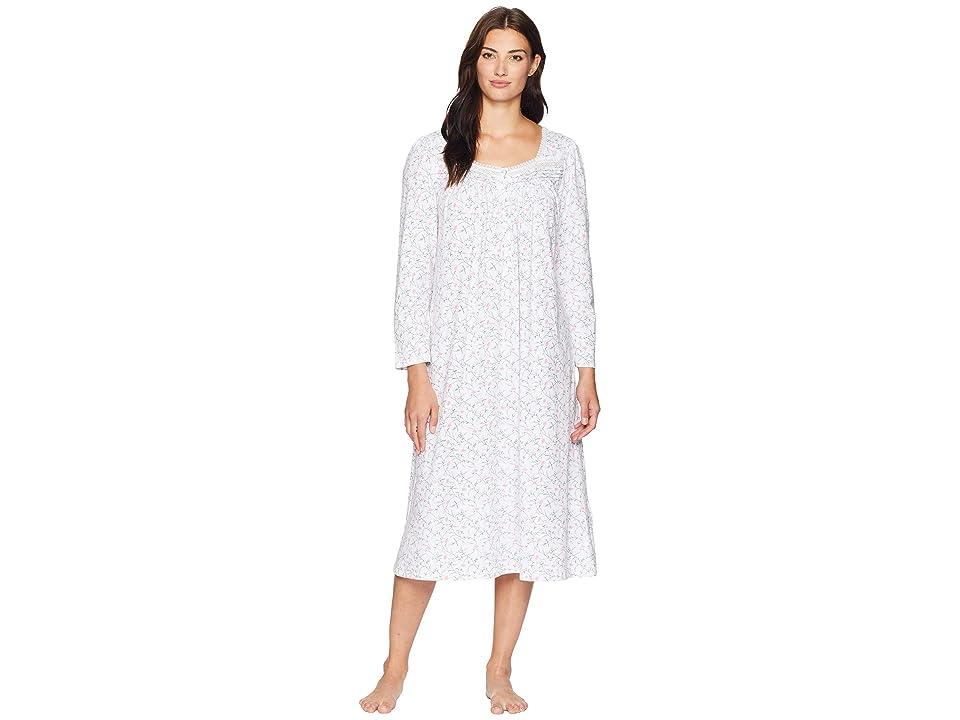 Eileen West Cotton Jersey Ballet Long Sleeve Nightgown (White Ground/Multi Scroll) Women