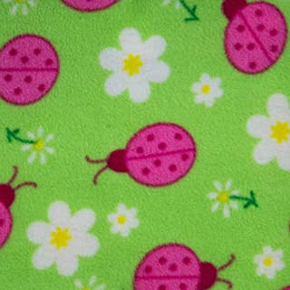 """Pink Lady Bug on Green Anti Pill Animal Theme Fleece Fabric, 60"""" Inches Wide – Sold By The Yard"""