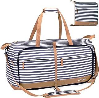 Lekesky Faltbare Reisetasche Groß 60L, Weekender Damen mit Schuhfach, Sporttasche Gross fur Damen Herren (Braun Gestreift)