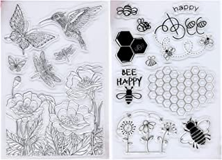 Kwan Crafts 2 Sheets Different Style Happy Bee Flowers Bird Clear Stamps for Card Making Decoration and DIY Scrapbooking