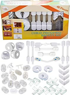 Baby Proofing Kit Pack of 46 I Baby Proof 16 Outlet Covers I 4 Door Knob Covers   8 Cabinet Locks I 4 Drawer Safety Latches   4 Angle Locks I 4 Door Stopper Pinch Guard I 10 Furniture Corner Protector