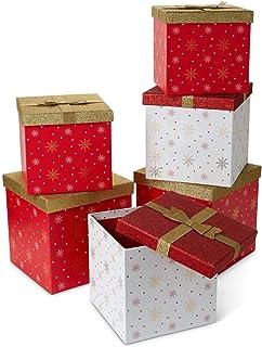 Tri-coastal Design - Julklapps- och förvaringslådor - dekorativa kartongbehållare med säsongsfärger och mönster