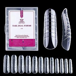 Makartt 120PCs/Case Nail Dual Forms Nail Extension System Poly Nail Gel Nail Mold Clear Full Cover False Nail Tips Hybrid ...