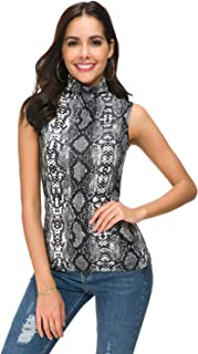 APRLL Women Sleeveless Mock Turtle Neck Knit Pullover Sweater Shirt Solid Blouse Tank Tops