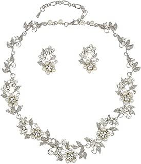 Flower Leaf Bridal Prom Pearl Crystal Choker Necklace Earrings Set N336