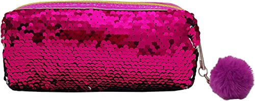 Vritraz Plain Pink Fashion Double Shade Reversable Sequin Pencil Box Case School Supplies Stationery Gift Cute Makeup...