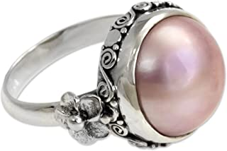 Dyed Pink Cultured Mabe Pearl .925 Sterling Silver Flower Ring, Love Moon'