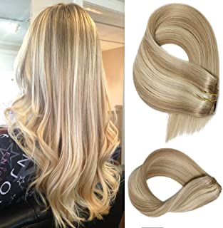 Clip in Extensions Human Hair With Dirty Blonde Highlights 7 Pieces 70 Gram Silky Straight Weft Remy Real Hair (22 Inches, 18-613)