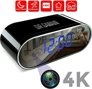 SIRGAWAIN Hidden Spy Camera Clock | 4K Video | Nanny Cam | Home Surveillance | Small Personal Security | Night Vision and Motion Detection | Wide 150 Viewing Angle