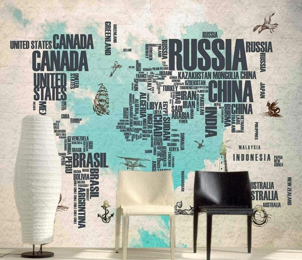 Wall Murales 3D Max 61% OFF Wallpaper Vintage World Map Large special price !! Letter Brick Li