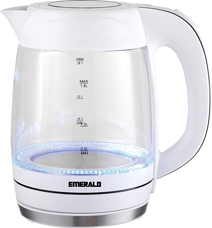 Emerald 1 8 Liter Glass White Electric Kettle 1354