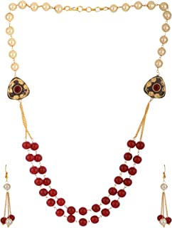 Muti Layered Indian Bollywood Kundan Red Faux Ruby Pearl Beaded Bridal Necklace Earrings Wedding Jewelry Set