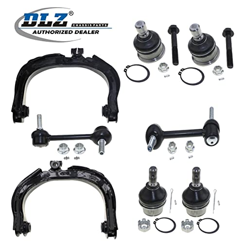 DLZ 8 Pcs Front Suspension Kit-Upper Lower Ball Joint Upper Control Arm Rear Sway