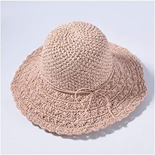 Lei Zhang Straw Big Straw hat Visor Female Sunscreen Holiday Travel Beach hat Sun hat (Color : Light Powder)