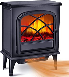 Infrared Fireplace Heater - Electric Space Heater for Large Room w/1500W Strong Power & 3S Fast Heating System, Portable Fireplace Stove for Office Home Indoor Use w/Overheat Tip-Over Protection