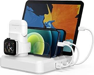 $25 » Charging Station for Multiple Devices, 5-Port Charger Organizer Dock with 4 Mixed Cables, USB Charging Station Compatible ...