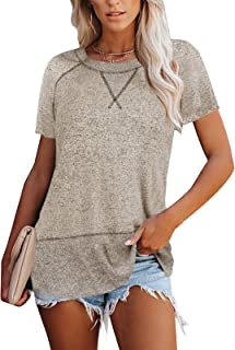 MEROKEETY Womens Summer Tops, Short Sleeve T Shirts Casual Crew Neck Color Block Tee Blouses