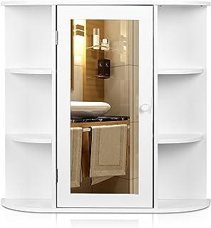 Homfa Armario de Pared con Espejo Armario de baño Armario
