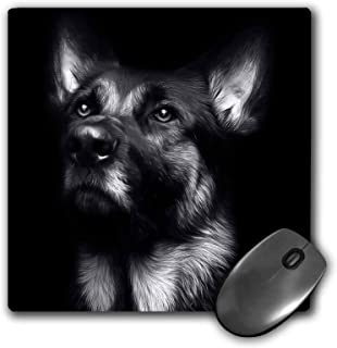 3dRose Mouse Pad Black and White Photo of A Regal German Shepherd Painted in Photoshop. - 8 by 8-Inches (mp_295257_1)