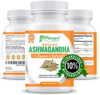 Organic Ashwagandha Capsules 1300mg Made with Organic Ashwagandha Root Extract 10% Withanolides, L-Theanine & Black Pepper...