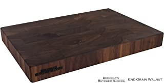 12 x 18 x 1.75 End Grain Brickwork Butcher Block Handmade in USA - Self-Healing - Knife Stays Sharper Longer - Customize: Juice Grooves and Indented Handles - Free Rubber Feet Included