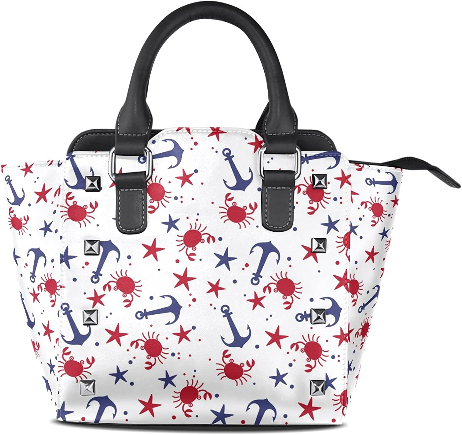 Sunlome Sea Crabs Starfishes Anchors Print Women's Leather Tote Shoulder Bags Handbags