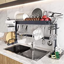 Over Sink Dish Drying Rack, Boosiny Stainless Steel Expandable Kitchen Dish Rack (29'' - 33.8''), Adjustable Dish Drainer ...