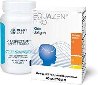 Klaire Labs Kids' Back to School Supplement Duo - Equazen Pro Omega 3/6 Fish Oil for Focus & Learning* (30 Softgels), VitaSpectrum Multivitamin to Support Brain Development* (180 Capsules)