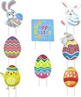 JOZON Pack of 8 Easter Yard Signs with Stakes for Lawn Yard Outdoor Decorations Signs Bunny Rabbit Easter Eggs Chick Happy...