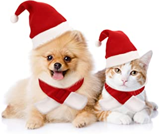 Syhood 4 Pieces Cat Christmas Hat with Muffler Puppy Dog Santa Hat Head Wear Accessories Christmas Costume Outfits for Pet Dog Cat Rabbit, Red